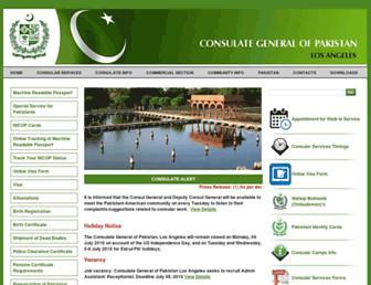 Main page screenshot of pakconsulatela.org