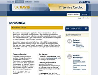 Main page screenshot of itsm.ucdavis.edu