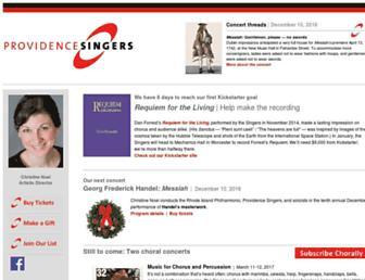 Main page screenshot of providencesingers.org