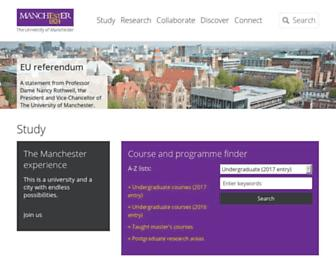 Main page screenshot of manchester.ac.uk