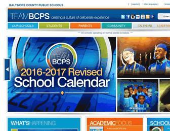 Main page screenshot of bcps.org