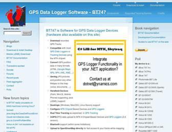 Main page screenshot of bt747.org