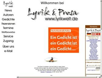 Main page screenshot of lyrikwelt.de