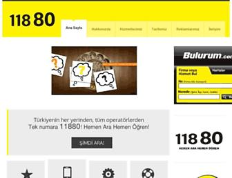 Main page screenshot of 11880.com.tr