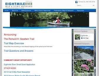 Main page screenshot of eightmileriver.org