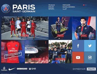 Main page screenshot of psg.fr