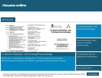 Main page screenshot of rheuma-online.de