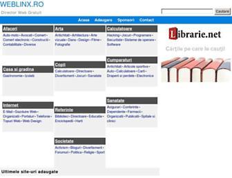 Main page screenshot of weblinx.ro