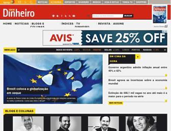 Main page screenshot of istoedinheiro.com.br