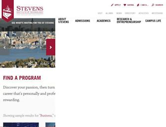Main page screenshot of stevens.edu
