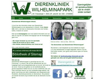 Main page screenshot of dierenkliniekwilhelminapark.nl