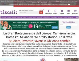 Main page screenshot of tiscali.it