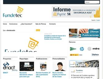 Main page screenshot of fundetec.es