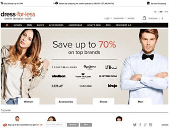 Main page screenshot of dress-for-less.de