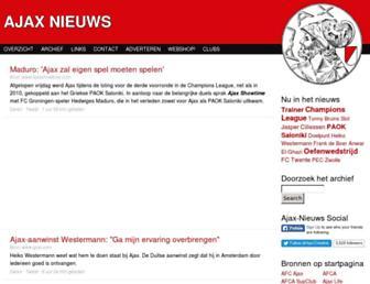 Main page screenshot of ajax-nieuws.nl