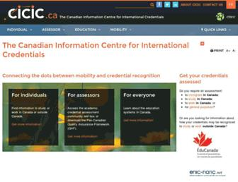 Main page screenshot of cicic.ca