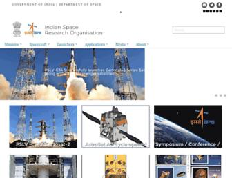 Main page screenshot of isro.gov.in