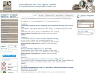 Main page screenshot of nat-hazards-earth-syst-sci.net