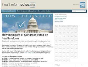 healthreformvotes.org screenshot
