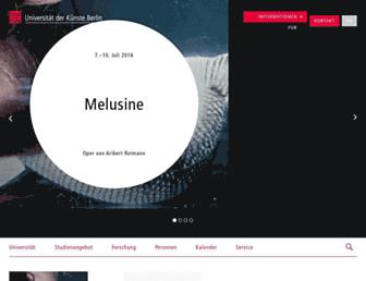 Main page screenshot of udk-berlin.de
