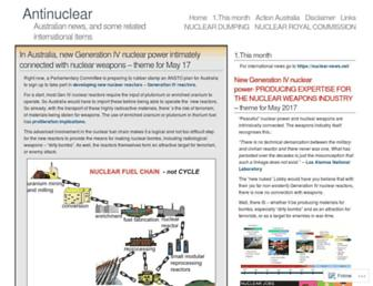 Main page screenshot of antinuclear.net