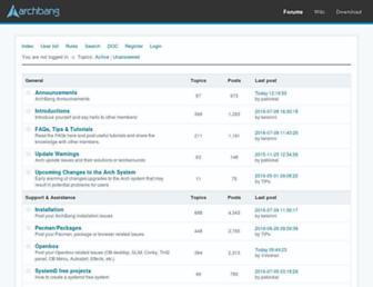 Main page screenshot of archbang.org