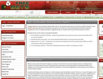 Main page screenshot of free-bets.ro