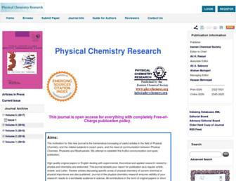 Main page screenshot of physchemres.org