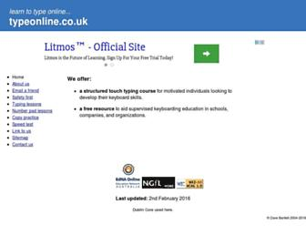 Main page screenshot of typeonline.co.uk