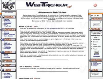 Main page screenshot of web-tricheur.net