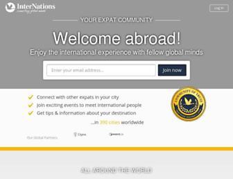 Main page screenshot of internations.org