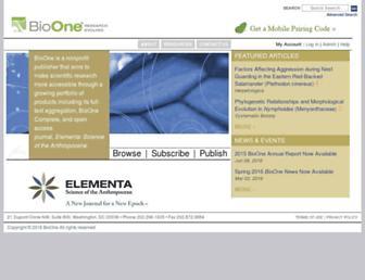 Main page screenshot of bioone.org