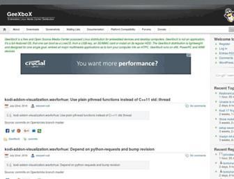 Main page screenshot of geexbox.org