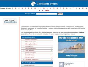 Main page screenshot of christian-lyrics.net