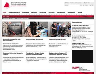 Main page screenshot of hs-karlsruhe.de