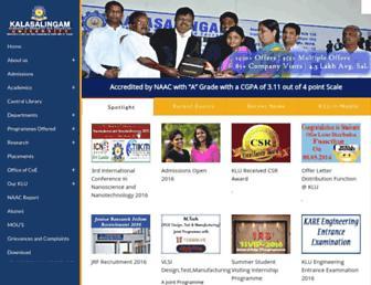 kalasalingam.ac.in screenshot