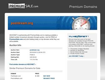 Main page screenshot of postdream.org