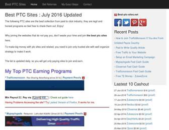 Main page screenshot of best-ptc-sites.net