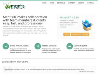 Main page screenshot of mantisbt.org