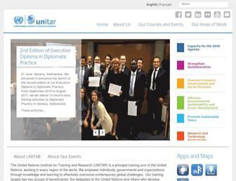 Main page screenshot of unitar.org