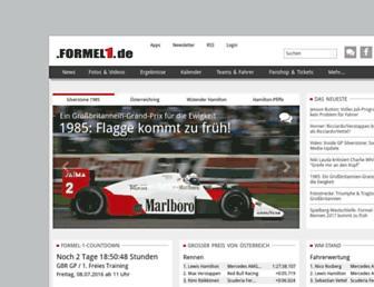 Main page screenshot of formel1.de