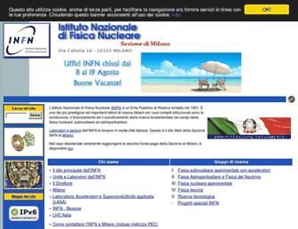 Main page screenshot of mi.infn.it