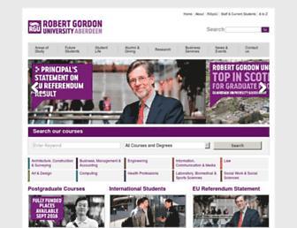 Main page screenshot of rgu.ac.uk