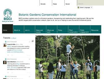 Main page screenshot of bgci.org