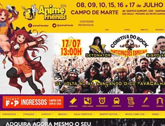 Main page screenshot of anifriends.com.br