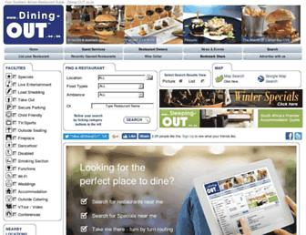Main page screenshot of dining-out.co.za