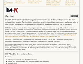 Main page screenshot of dietpc.org