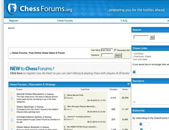 Main page screenshot of chessforums.org