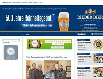 Main page screenshot of rieder-bier.at