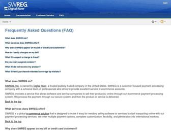 Main page screenshot of swreg.org